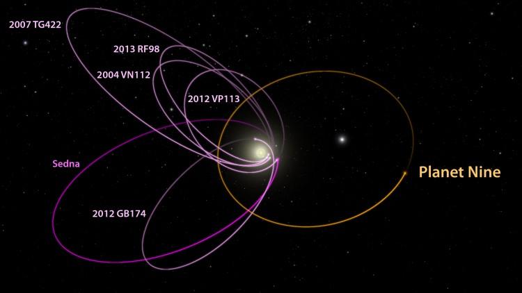 A órbita do Planeta 9, como eles o estão chamando, e dos objetos estranhos além do cinturão de Kuiper (Crédito: Caltech)