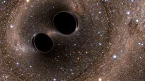Concepção artística da colisão de buracos negros que gerou as ondas gravitacionais (Crédito: SXS)