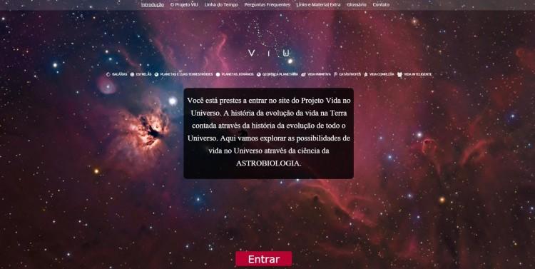 Página de abertura do site do Projeto Vida no Universo (Crédito: Projeto ViU)