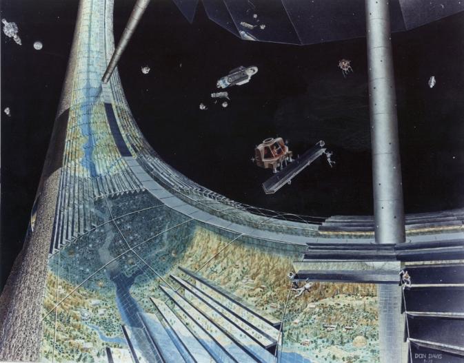 Ilustração de segmento de uma colônia espacial com gravidade artificial por centrifugação (Crédito: Nasa)