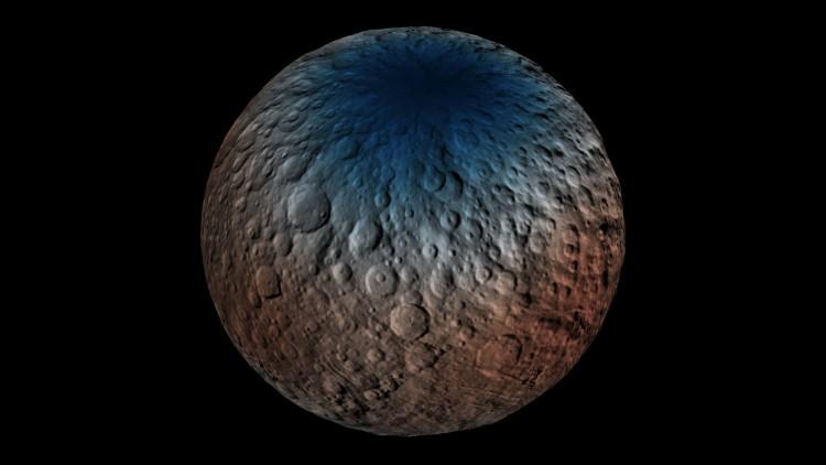Medições do instrumento GRaND indicam presença de gelo de água no subsolo de Ceres, principalmente nas regiões polares. (Crédito: Nasa)