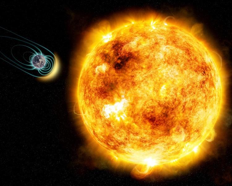 Concepção artística da Terra tendo de lidar com a aborrescência do Sol jovem. (Crédito: M. Weiss/CfA)