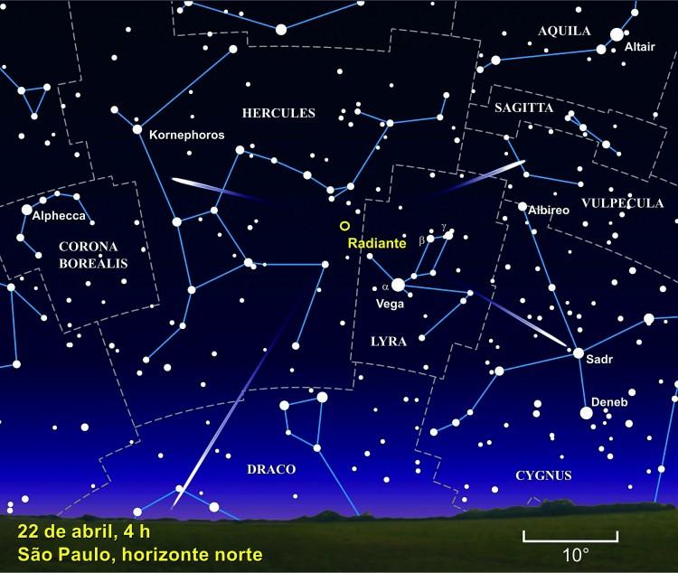 O radiante dos Lirídeos aparece no céu na madrugada, ao norte, na virada do dia 22 para o 23. (Crédito: Julio Cesar Klafke)