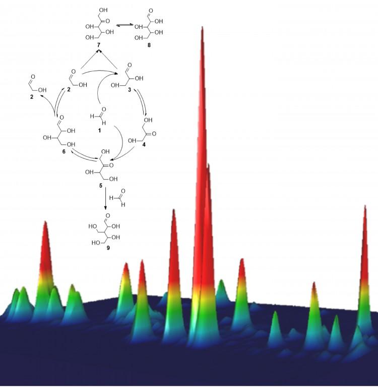 Esquema representa o processo que leva à síntese da ribose, e o gráfico colorido representa sua detecção por cromatografia gasosa (Crédito: C. Meinert/CNRS)