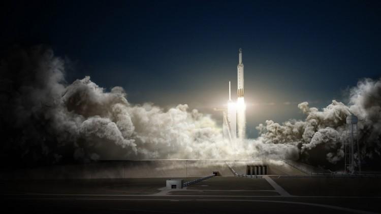 Concepção artística do Falcon Heavy, que deve ter seu primeiro lançamento até o fim do ano. (Crédito: SpaceX)