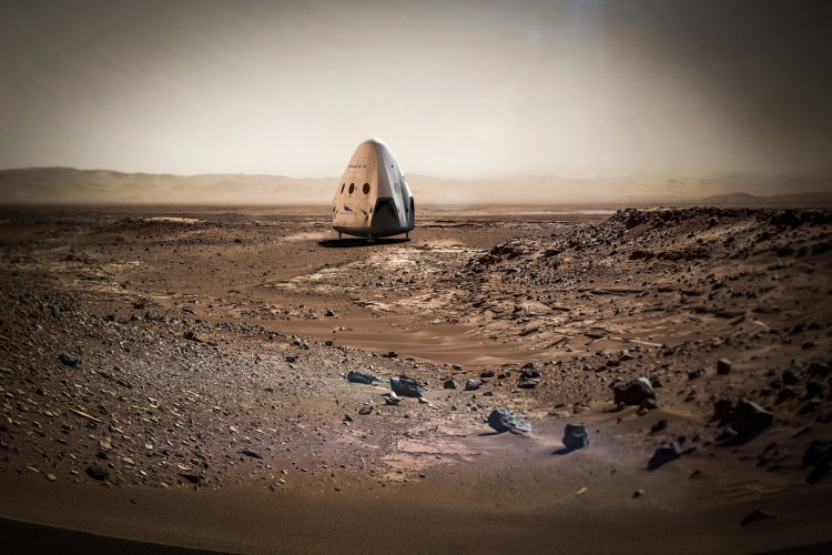 Concepção artística de uma cápsula Dragon, da SpaceX, em Marte (Crédito: SpaceX)