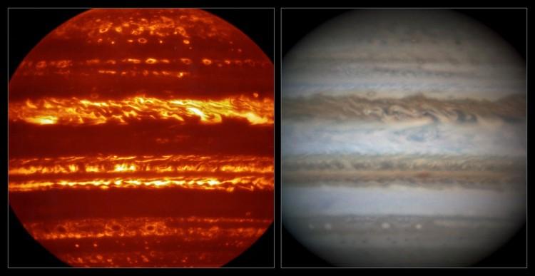 Imagem em infravermelho de Júpiter captada pelo VISIR, instrumento do VLT, e uma equivalente em luz visível, colhida pelo astrônomo amador Damian Peach (Crédito: ESO)