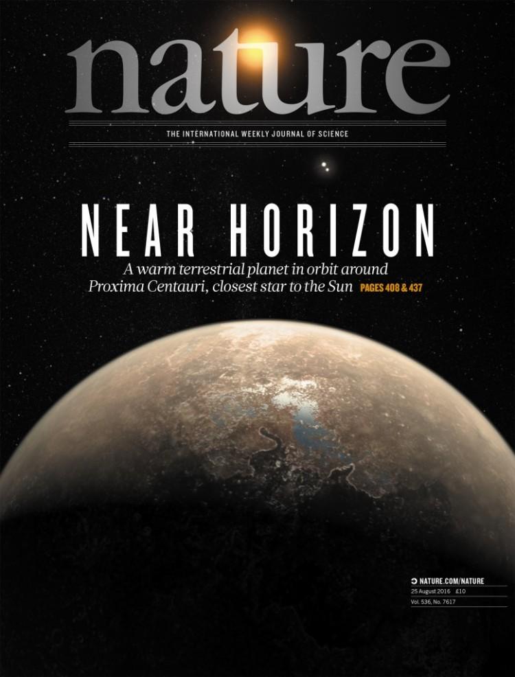 "A bonita capa da ""Nature"" desta semana, com Proxima Centauri e seu planeta rochoso (Crédito: Macmillan)"