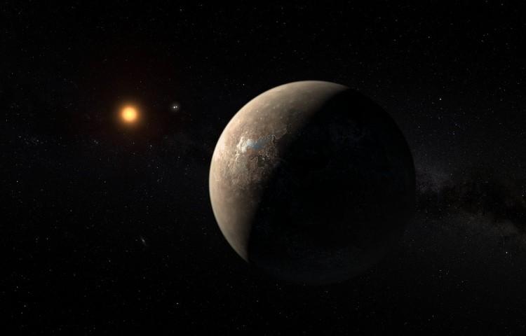 Artist's impression of the planet orbiting Proxima Centauri