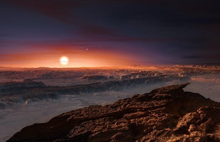 Concepção artística da superfície de Proxima B, bem na divisa entre o lado iluminado e o escuro. (Crédito: ESO)