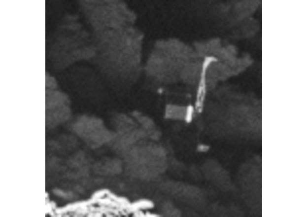 Detalhes do Philae, afixado de lado a um rochedo na superfície do cometa Churyumov-Gerasimenko (Crédito: ESA)