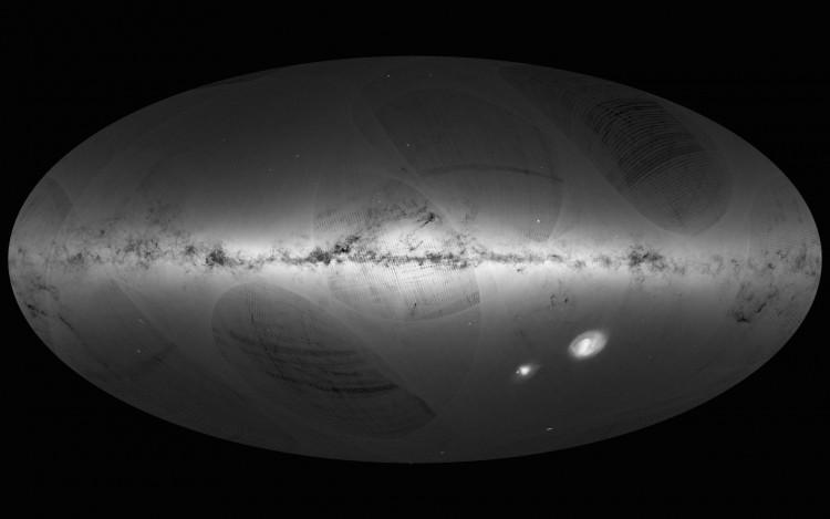 Primeiro mapa celeste do Gaia. Há pequenas falhas de cobertura que serão eliminadas com o acúmulo de dados da missão (Crédito: ESA)