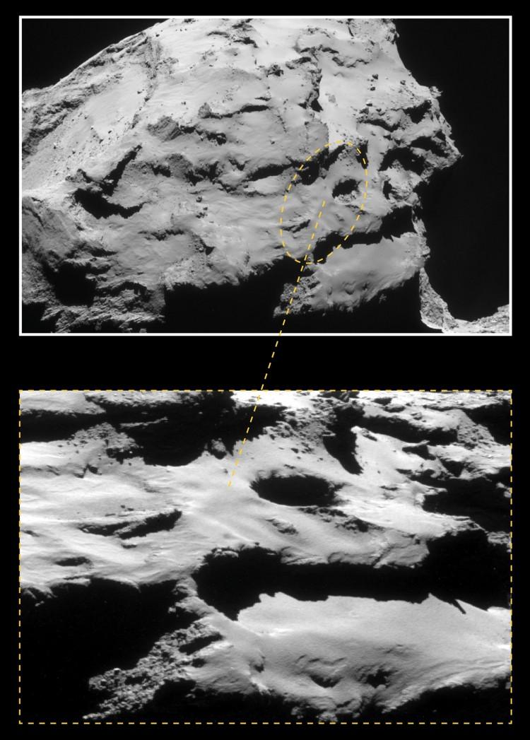 Elipse de 700 m por 500 m onde ocorrerá o pouso da Rosetta nesta sexta-feira (Crédito: ESA)