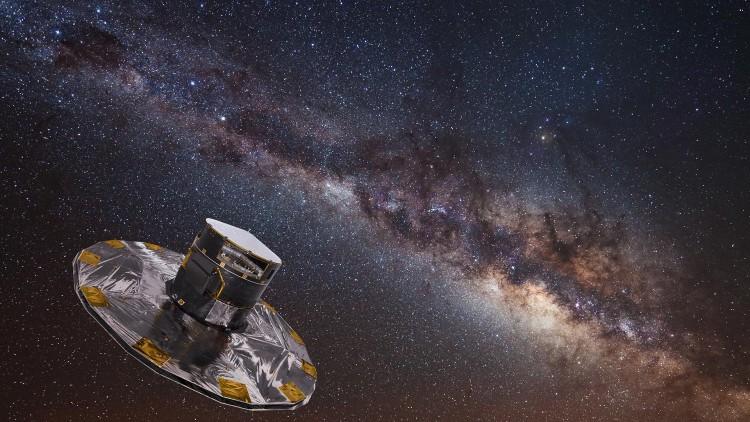 Concepção artística do satélite Gaia (Crédito: ESA)