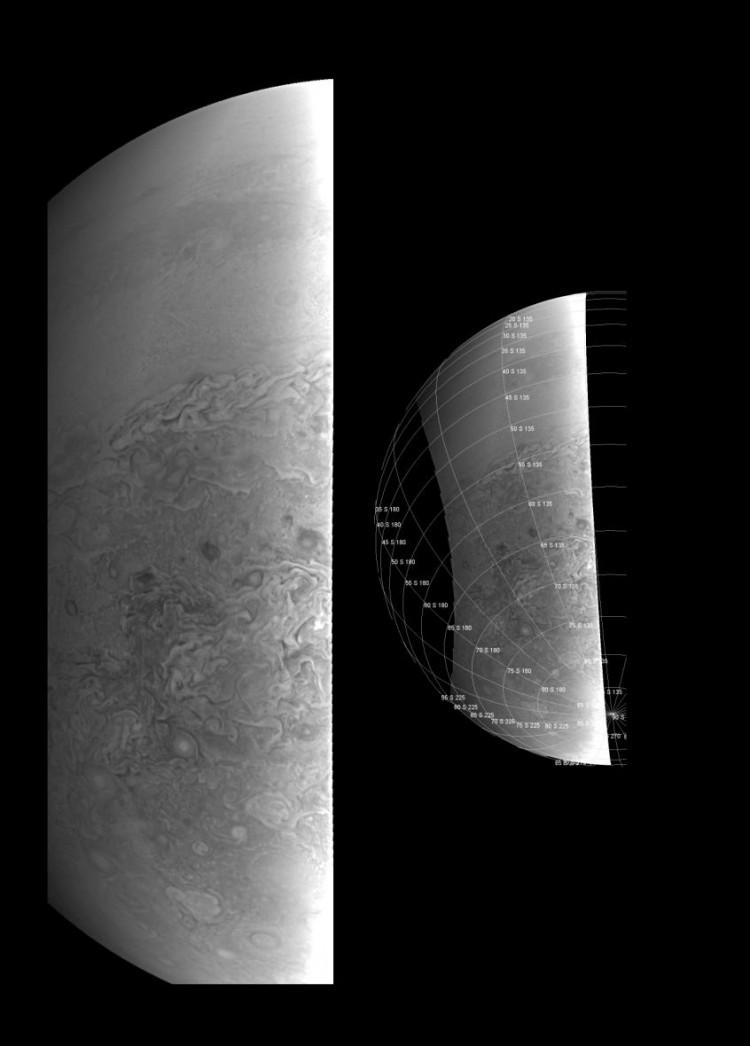 Imagem colhida pela JunoCam do polo Sul de Júpiter, a uma distância de 38 mil km. (Crédito: Nasa)