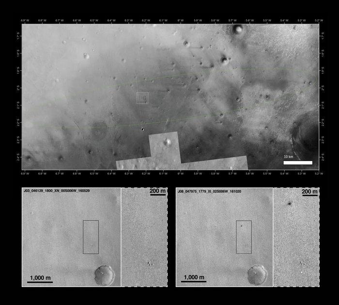 A imagem em contexto, com a elipse de probabilidade de pouso, o recorte da imagem da MRO e o destaque revelando os novos traços no chão. (Crédito: Nasa)