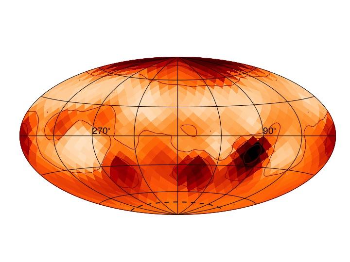 Mapa da superfície da estrela Zeta Andromedae, indicando a presença de manchas estelares (Crédito: Rachael Roettenbacher e John Monnier)