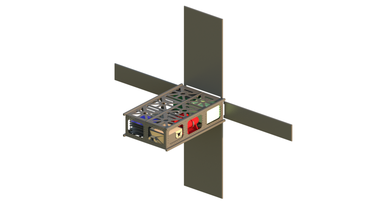 A estrutura interna da pequena Garatéa-L. É praticamente uma caixa de sapato espacial, com 30 cm por 20 cm. (Crédito: Garatéa Space)