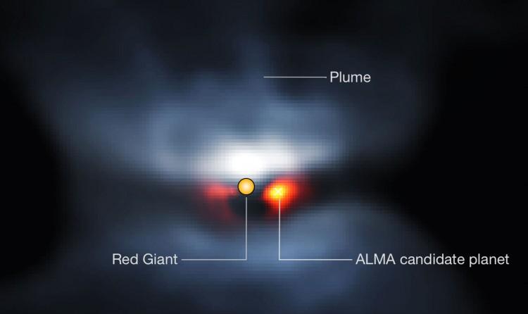 Imagem combinada do Alma e do instrumento Sphere, do VLT, revela possível planeta em torno da gigante vermelha L2 Puppis (Crédito: CNRS/U. de Chile/Observatoire de Paris/LESIA/ESO/ALMA)