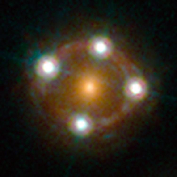 HE 0435-1223 é um dos sistemas de lente gravitacional escolhidos para estudo e o primeiro a ter seus resultados divulgados. Crédito: Nasa/ESA)