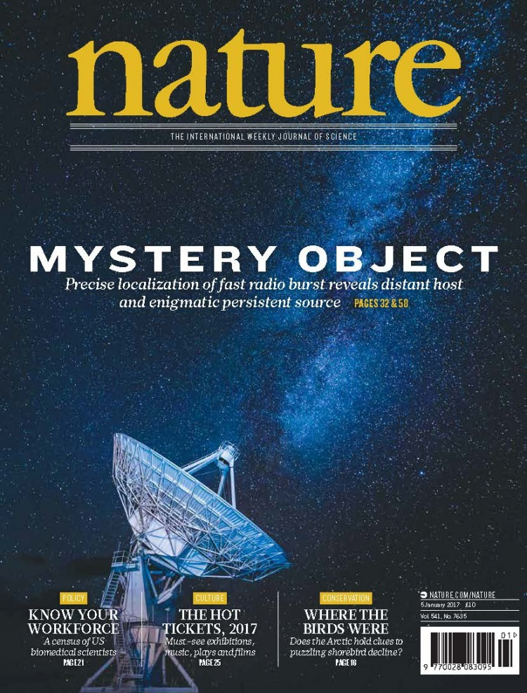 "Capa da revista ""Nature"" com o estudo do FRB121102 (Crédito: Nature)"
