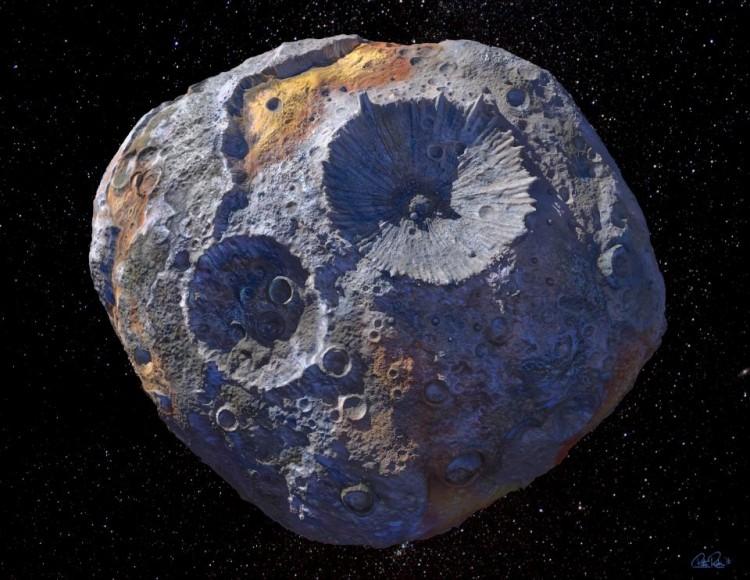 Concepção artística do misterioso asteroide metálico Psique (Crédito: ASU)