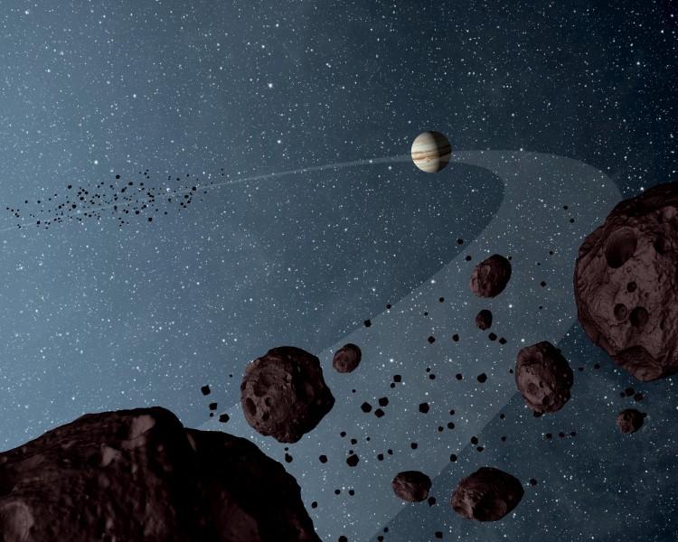 Concepção artística dos troianos nos pontos L4 e L5 Sol-Júpiter. (Crédito: Nasa)